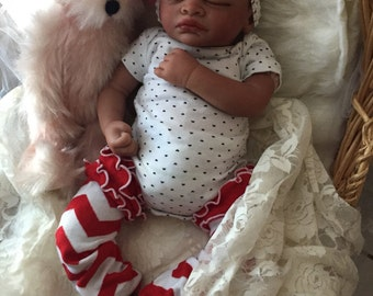 Completed Bi Racial Brenna Completed Reborn Baby Doll from the Aisha 20 inch kit with Painted Hair