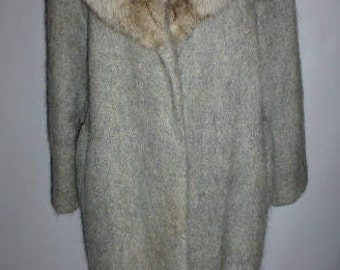 Vintage Gray Mohair Blend, Plush Fox Collar Coat, Ca. 1970's, One Owner, Size 12