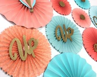 Aqua Coral and Gold Rosettes | Coral Hot Air Balloon Paper Fans| Pinwheel Backdrop Decor Paper Rosettes | Up and Away Hot Air Balloon
