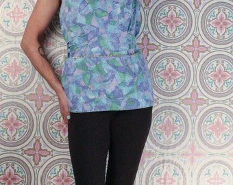 60's ART SMOCK Top // Blue Abstract Pattern // Size Small