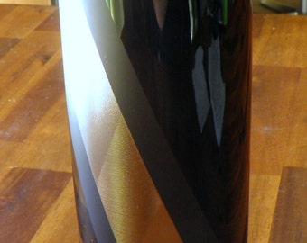 """20% OFF--1987 Rosenthal 'Platinnebel' Porcelain Noire Vase--Helmut Drexler--Matte/Glossy Black with Silver-Ridged Stripe--8"""" H x 3-1/2"""" Dia"""