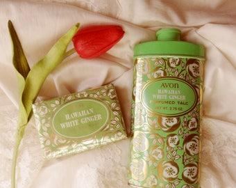 Hawaiian White Ginger Perfumed Soap and Powder, Avon Soap Powder Boxed Set