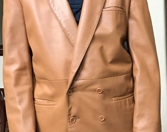 """Vintage Leather Jacket 1970s Camel Tan Brown Double Breasted Blazer SportCoat Men's Medium Chest 38"""""""