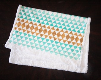 Gold and Mint Baby Blanket, Girl Baby Blanket, Baby Girl MINKY Blanket, Minky Baby Blanket, Ombre Triangles Baby, Ready to Ship Baby Blanket