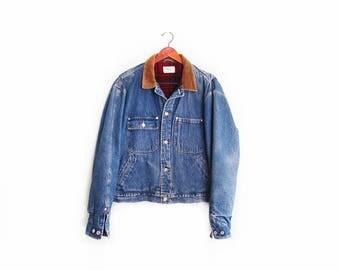 vintage denim jacket / chore jacket / Polo denim jacket / 1990s plaid lined Polo Ralph Lauren distressed chore jacket Large