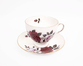 Vintage Colclough Bone China Teacup Saucer Amoretta 7906 Red Rose Design Made in England English Roses