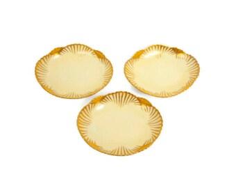 Antique Jean Pouyat Salt Cellars Limoges France Footed Butter Pats Set of 3 Salt Dips 24 KT Gold Leaf Design Nut Dishes