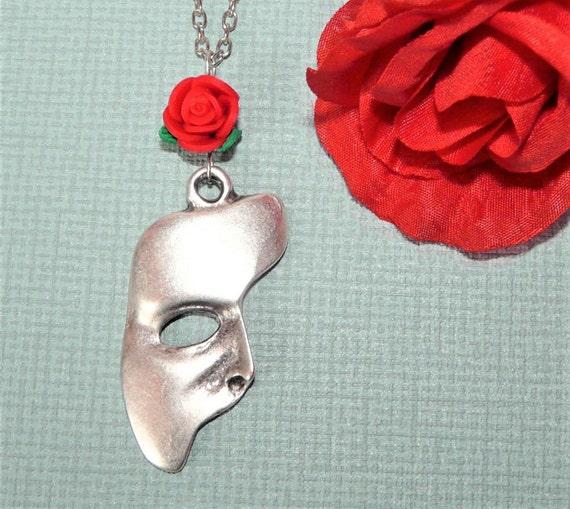Phantom Of The Opera Necklace, Phantom Mask, Phantom Rose, Phantom Of The Opera Pendant