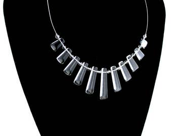 Sterling silver ' Clear crystal ' necklace. rock crystal, modern , 925 silver * Elegant Curiosities *