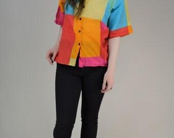 80s JAEGER Multicolour Bright Patchwork Button Through Boxy Blouse M