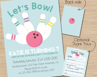 Bowling Birthday Invitation, Print Your Own Invitation, DIY, Printed