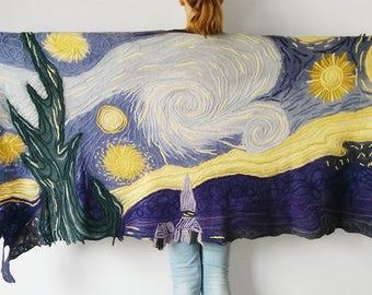 Van Gogh merino wool shawl, chal de lana, wholesale clothing, wide shawl, art shawl
