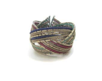 Vintage Silver Multicolor Braided Bead Bracelet