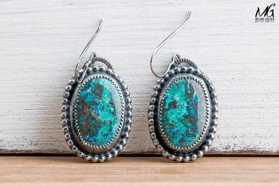 Azurite Gemstone Earrings in Sterling Silver