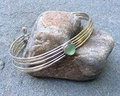 Sea glass jewelry,  Bezel set sea foam green sea glass multi strand sterling silver bangle cuff bracelet