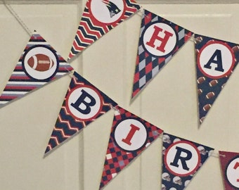 NEW ENGLAND PATRIOTS Football Themed Happy Birthday or Baby Shower Party Banner - Red Navy Grey - Party Packs Available