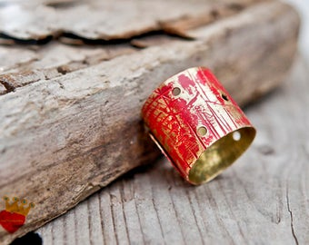 Red -  Unisex ring,adjustable ring,minimal,brass ,hammered ,Wide Band folded ring,red,bohemian,patina,one of a kind