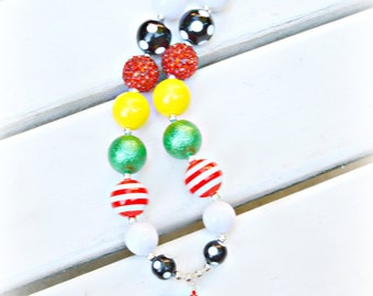 Chunky Bead Necklace Hamburger & Fries/Hamburger Fries Necklace/Gift for Girls/Bubblegum Resin Bead Necklace