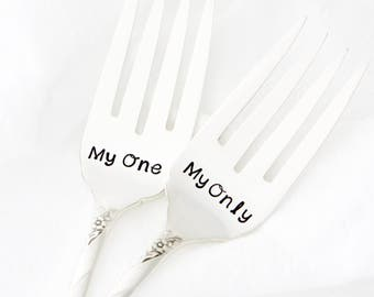 My One, My Only. Table Setting, hand stamped wedding forks, for unique engagement gift