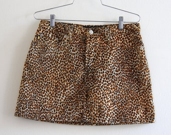 90s Todd Oldham Fuzzy Leopard Print Mini Skirt with Five Pockets