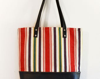 Striped Canvas Tote, Red Stripe Tote, Canvas Tote, Leather Bottom Shopper, Every Day Bag, Women's Accessories, Bags for Women