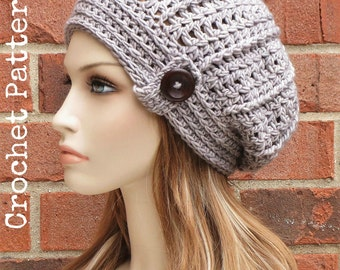 CROCHET HAT PATTERN Instant Download Pdf - Hartford Slouchy Beanie Womens Button Slouchy Hat Pattern - Permission to Sell English Only