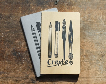 CREATE cahier journal, large, lined, gray or kraft