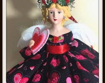 Valentine Angel of Love, Handmade One of  A Kind Love Token, Porcelain Angel, Blonde Angel Treetop