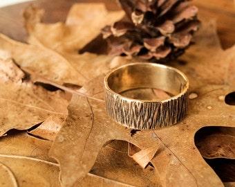 Brass Band Ring Hammered Rustic Minimalist Woodsy #R100B