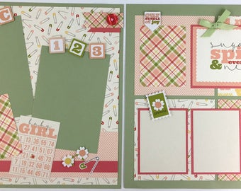 Pre-made Baby Girl Scrapbook Page Layout 2 pages 12x12 shower