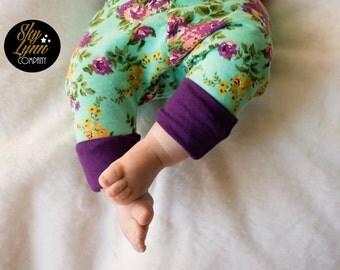 Grow With Me Floral Mustard Plum Cotton Knit Newborn Infant Pants Headband Set