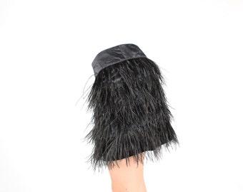 FUN Marabou Fluffy Ostrich Feather Black Minimal Bandage / Bodycon A-Line Mini Skirt