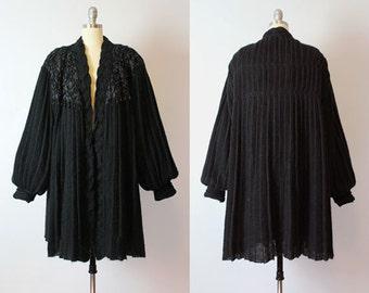 vintage oversized mohair sweater coat / 1980s pleated black trapeze sweater / soutache sweater / balloon sleeve / statement avant garde knit