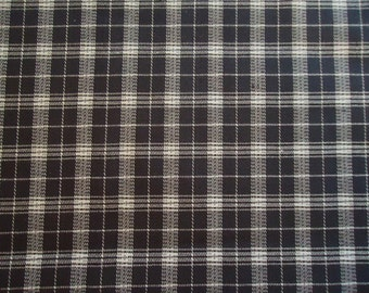 Vintage Gray and White Stretch Plaid Knit Fabric