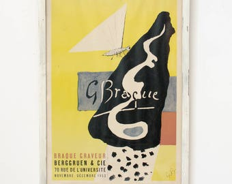 Vintage Original Berggruen & Cie Framed Georges Braque Mourlot Poster Lithograph Braque Graveur French - Mid Century