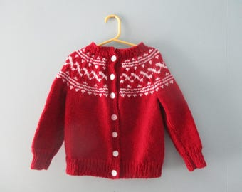Vintage handknit burgundy fair isle sweater / Hand knit in Newfoundland cardigan sweater / Nordic style knit jumper Size 3T to 4T