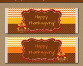 Thanksgiving Chocolate Bar Wrappers - Printable Thanksgiving Candy Bar Wrappers - EDITABLE Thanksgiving Party Favors Thanksgiving Labels T1