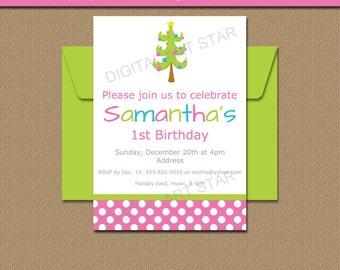 Girl Christmas Birthday Invitation - 1st Birthday Invitation - First Christmas Invitation Template - EDITABLE Christmas Party Printables C1