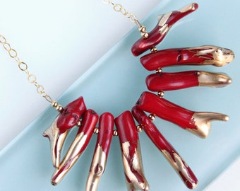 Gilded Coral Necklace - Gold Chain, Red Branch Coral