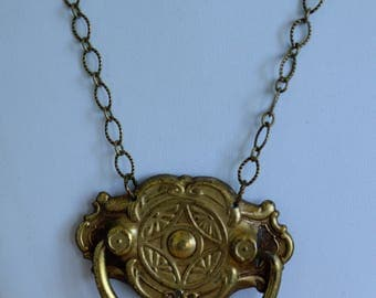 """Antique Brass Drawer Pull Necklace, Repurpose, Upcycle, Artisan Designed, 22"""" (3A)"""