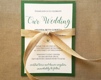 Classic Rustic Wedding Invitation Suite - Black and Emerald Green with Burlap Ribbon
