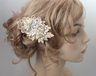 Champagne Hair Accessory- Bridal Hair Comb- Champagne Bridal Comb- Wedding Hair Comb- Champagne Bridal Clip- Bridal Hairpiece- Brass Boheme