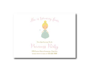 Princess Party Birthday Invitation - 5x7 Birthday Invitations - Printed or Printable - Free Shipping