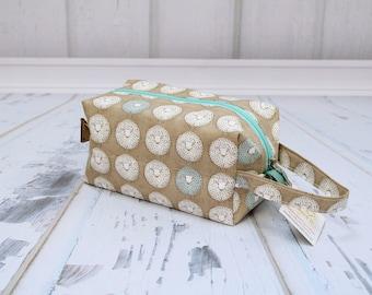 Round sheep tan fabric Small boxy bag, Knitting Boxy Project Bag,Knitting Project Bag. Sock Knitting bag. Crochet bag,zippered box bag