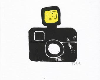 Camera linocut print card - blank