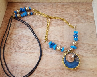 Good Fortune Necklace Blue and Gold Nautical Pendant  Good Luck Gift  Lucky Coin Charm