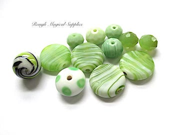 RESERVED for GINA Lime Green & White Beads, Assorted Beads, Lampwork, Czech Glass, Fire Polished Faceted Glass, 12 Pieces SP741