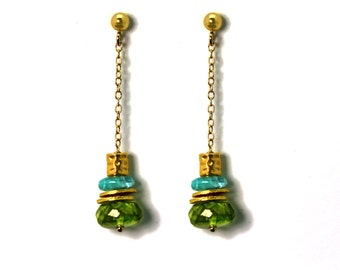 Peridot and Apatite Earrings. Gemstone Dangle Drop Earrings. Gold Filled or Sterling Silver. E-2208