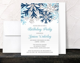 Winter Birthday Party Invitations - Blue and Silver Snowflakes Aqua Navy on White - Printed Invitations