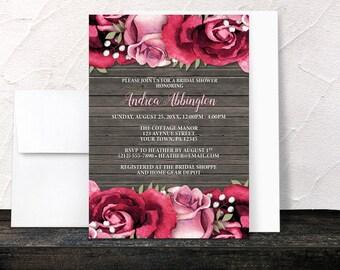 Burgundy Rose Bridal Shower Invitations - Rustic Burgundy Pink Rose Wood Floral - Printed Invitations